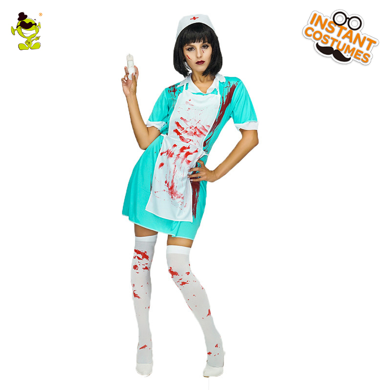 Women Bloody Doctor Costume Adult Halloween Party Horror Hospital Nurse Role Play Fancy Dress Female Cold Killer Cosplay Clothes