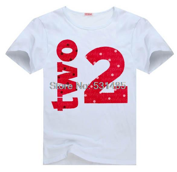 Second Birthday Tee 2nd T Shirt For Toddler Kids Children Boy Girl Cartoon