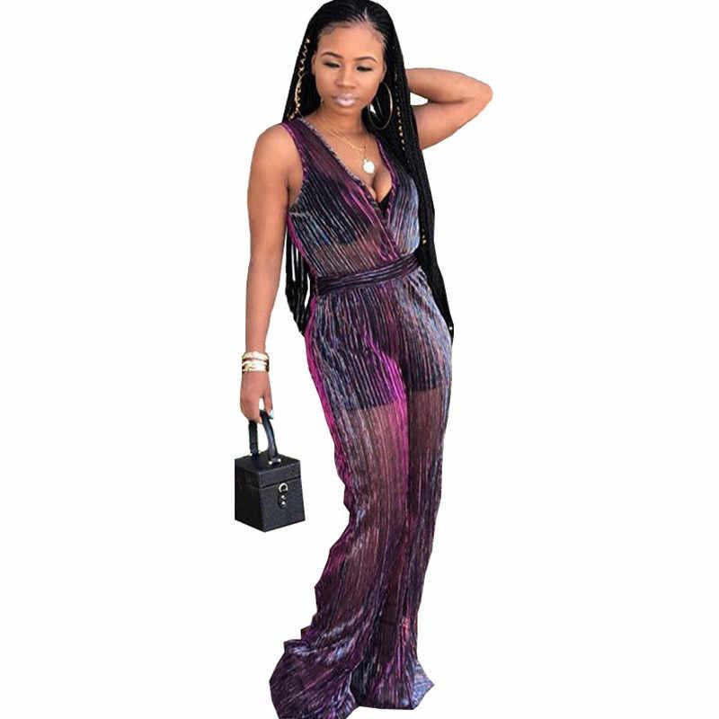 Пикантные с v-образным вырезом блеск прозрачный комбинезон 2018 для женщин без рукавов See Through свободные сетчатые комбинезоны широкие брюки для ночного клуба комбинезон для вечеринки