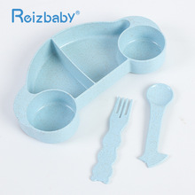 REIZBABY Baby Feeding Dishes Set with Spoon forks Heat Resistant Car Shape Bowls Children Anti-spill 4 Compartments Eating Plate