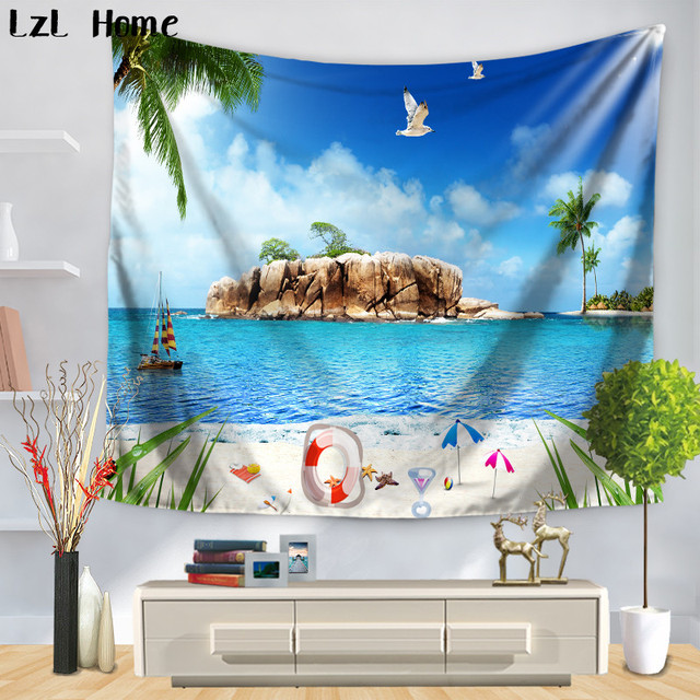 Lzl Home 2018 New Summer Seaside Tapestry Printed Wall Carpet Decor Hanging Tapestries Hippie Polyester Sheet Tapete