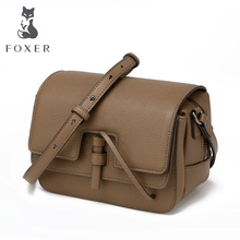 FOXER Brand Women's bag New Fashion Split Leather Crossbody Bag Messenger Bag for Women Female Shoulder Bags