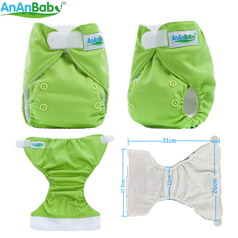 Plain Color AnAnBaby 1st Hook And Loop Fästare Cloth Diaper Nyfödd Med Inlägg Blöjor Cover Fit 0-3 Month Baby