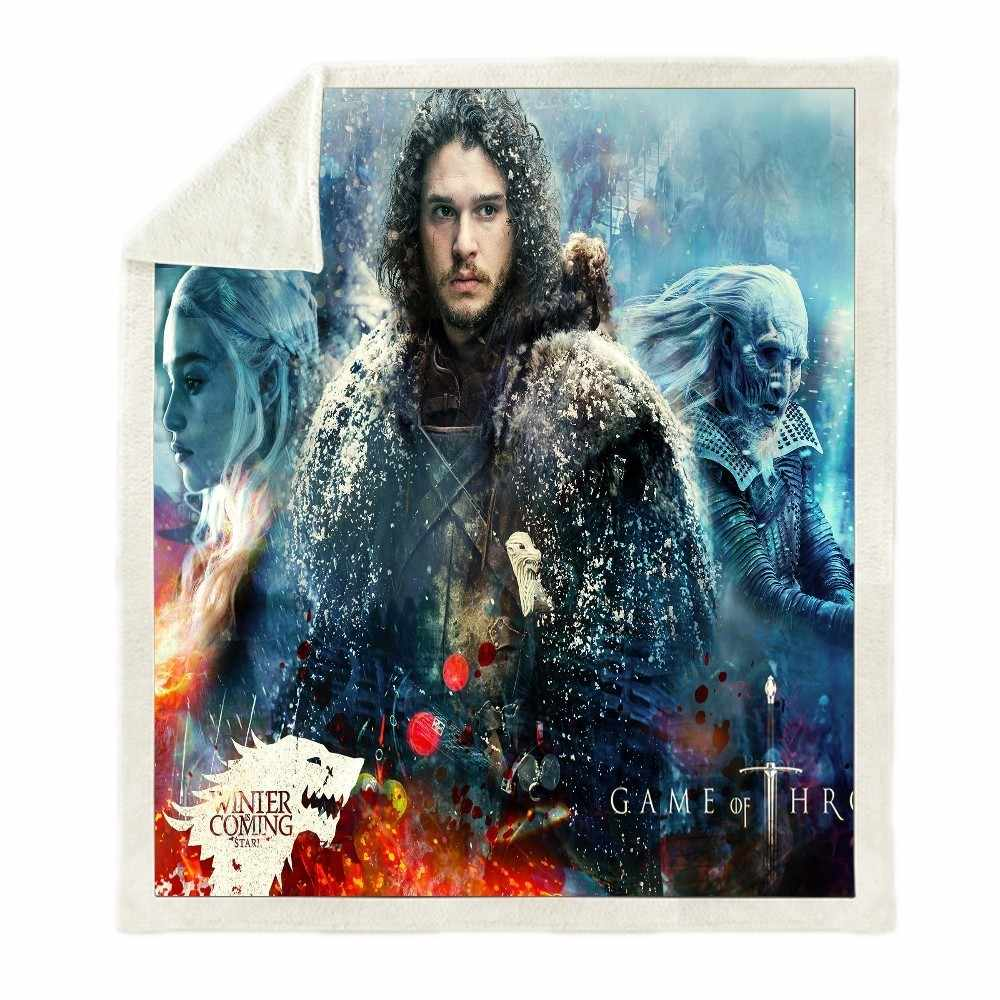 Sofa Cushion Yoga Mat Blanket Picnic Back To School Blanket Thick Double-layer Plush Game Of Thrones 3d Print Carry Blanket