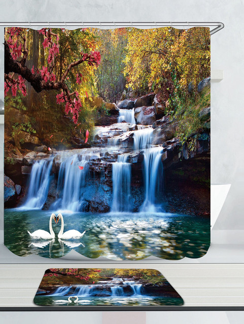 Swans Flowers Cascade Waterproof Shower Curtain Rug Set Non slip Mat ...