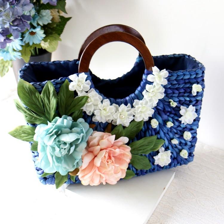 The National Post handmade straw bag blue flowers garden wood portable Shoulder Beach Bag holiday woven bag