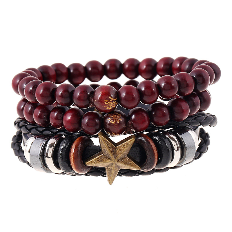Ethnic Style Buddha Bracelet for Men Women Multilayers 3Pcs Set Bracelets & Bangles Wood Beads Stars Charms Leather Jewelry