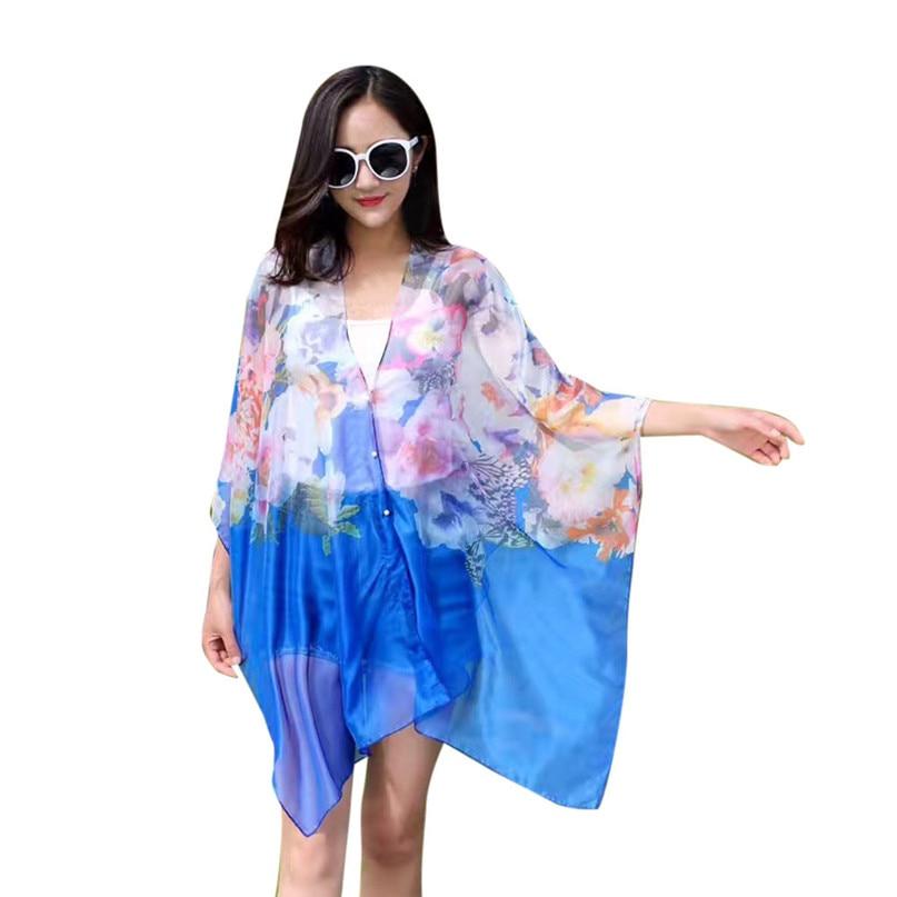 Swimwear Women Beach Tunic Bikini Cover Up Chiffon Printing Sunscreen Shawl Silk Scarf Button beach pareo Rash Guards #3j03#F (13)