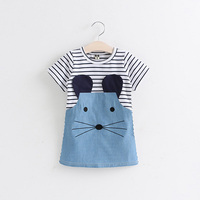Fashion 2 To 6 Years Old Baby Fashion Clothes Cute Denim Mouse Charactor Costume Children Girls Kids Summer Dress