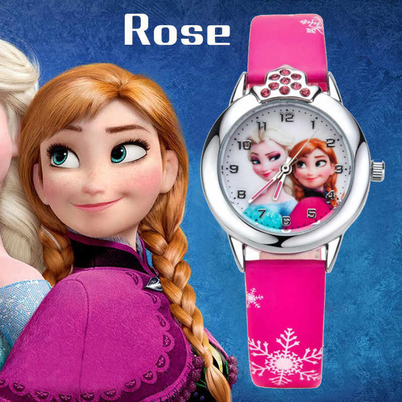 Animated Film Frozen Girls Elsa Princess Ann Cartoon Quartz Watch Crystal Diamond Dial Clocks Christmas Gifts for Girls Children