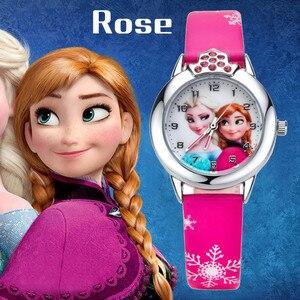 فيلم الرسوم المتحركة المجمدة بنات إلسا الأميرة آن الكرتون ساعة كوارتز كريستال الماس الهاتفي الساعات هدايا عيد الميلاد للفتيات الأطفال