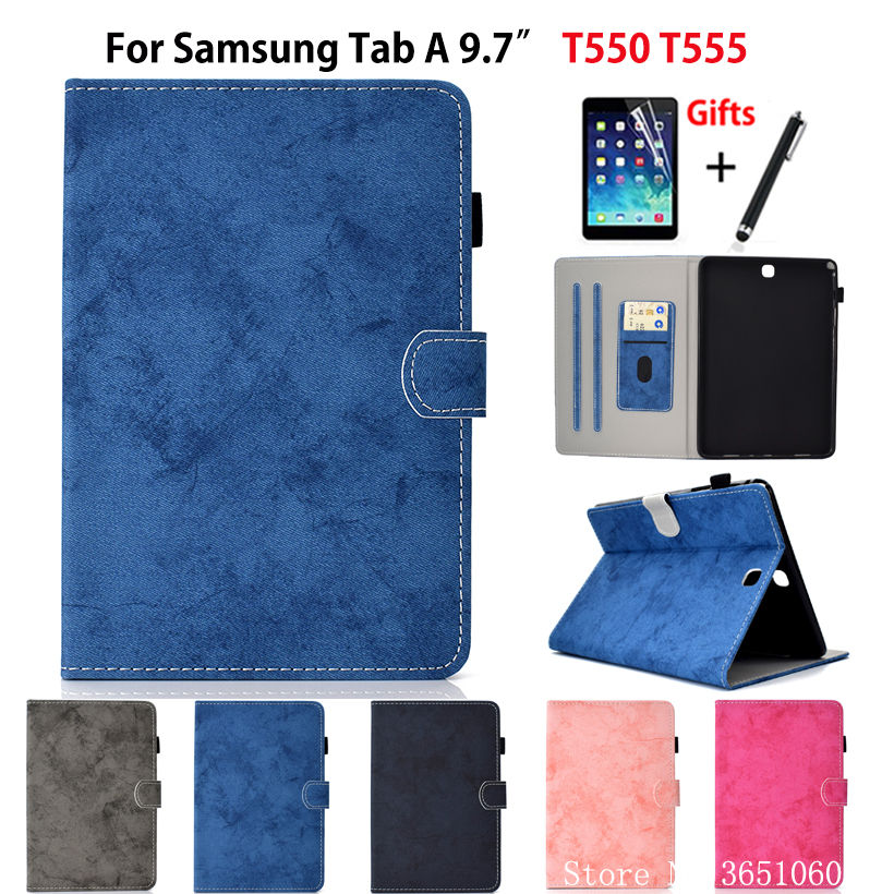 SM-T555 Coque Pour Samsung Galaxy Tab A 9.7 SM-T550 T550 T555 P550 P555 Smart Cover Funda Protection Tablette Support Coquille + Film + Stylet