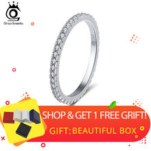 ORSA JEWELS 925 Sterling Silver Rings Women Classic Round Full Pave AAA Cubic Zircon Engagement Wedding Band Ring for Girls SR63(China)