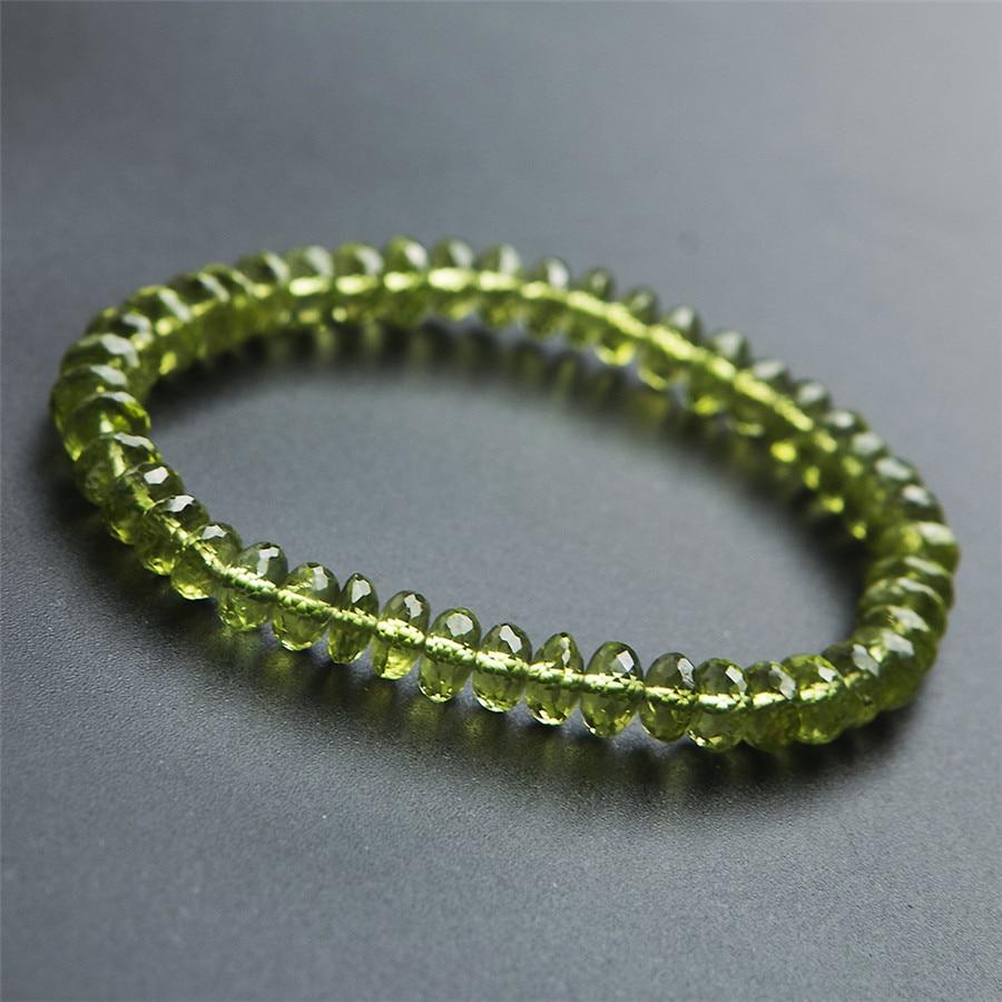 99e380a44de2 6mm genuino Natural verde peridoto olivino facetado gema piedra redonda  cristal cuarzo cuentas ...