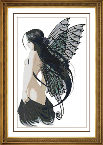 Black angel naked girl Needlework Cross stitch kits DMC for Embroidery Patterns 14CT DIY Handmade counted