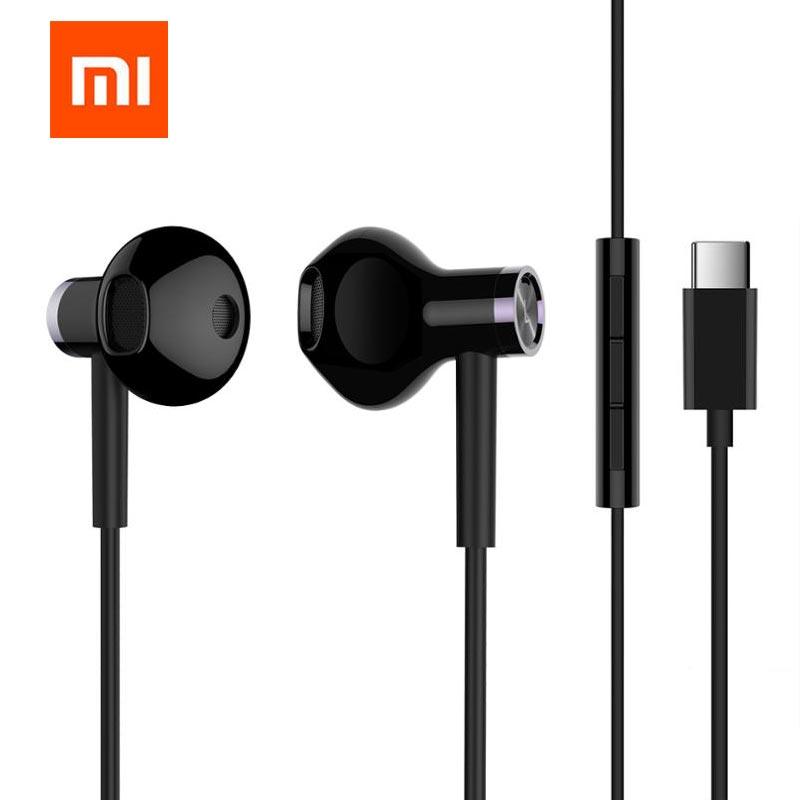 Original Xiaomi Mi Dual Units Half In Ear Earphone Mic Wire Control 3.5MM Slot Xiaomi Earphone Dynamic For Smart Phone headset