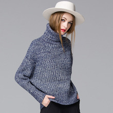 Women Plus Size The High-necked Knit Sweater Fashion Wild Loose Sweater 2016 Winter Style Women Thicken Warm Bottoming Sweater