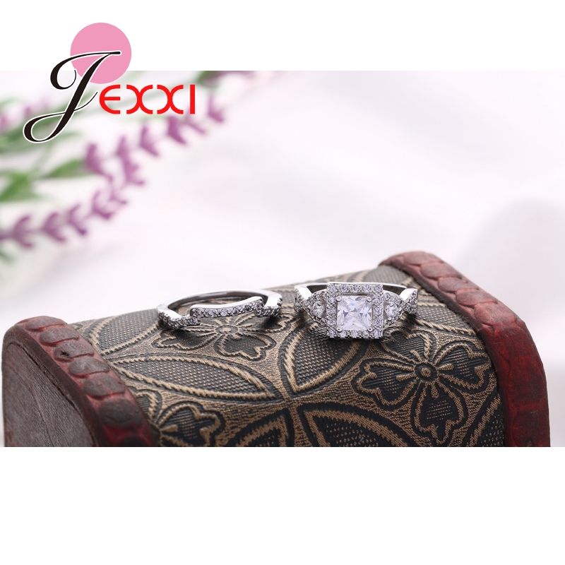 JEXXI Withe CZ Crystal Brand New 925 Sterling Silver Wedding Engagement Rings Sets Women Ring Bridal Free Shipping