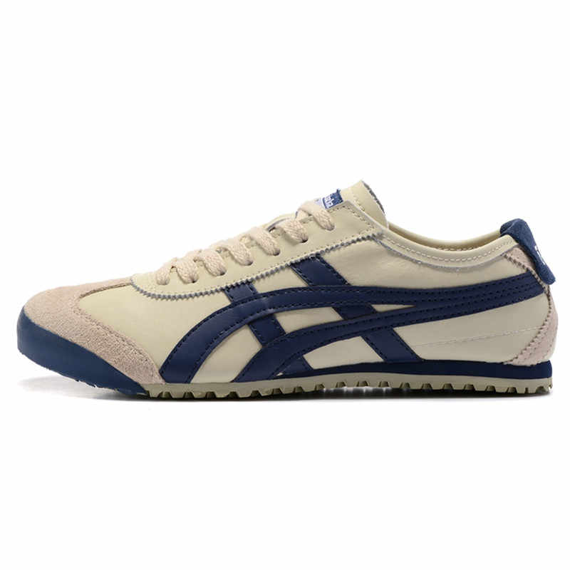 new product 82130 fa514 20018 ONITSUKA TIGER Men Sneakers MEXICO 66 Beige dark blue Leather Rubber  Anti-slippery Women Badminton Shoes size 36-44