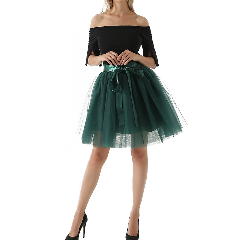 7 ფენა Midi Tulle skirt for girls Fashion Tutu კალთები ქალთა Ball Gown Party Petticoat Lolita faldas saia jupe