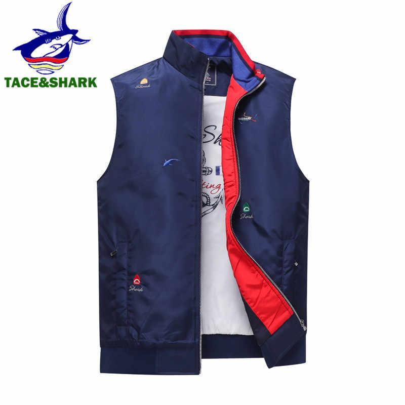 Tace & shark 브랜드 2018 겨울 민소매 상어 조끼 탱크 캐주얼 조끼 남성 조끼 자켓 남성 슬림 코트 조끼 옴므 탑