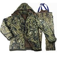 Открытый Водонепроницаемый теплая бионический камуфляж Охота Рыбалка пальто брюки костюмы Для мужчин зимние Термальность хлопковая куртк