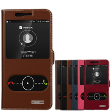 Genuine Natural Cow Cowhide Leather Case View Window For Huawei Honor 8 Magnetic Filp Phone Cover + Gifts