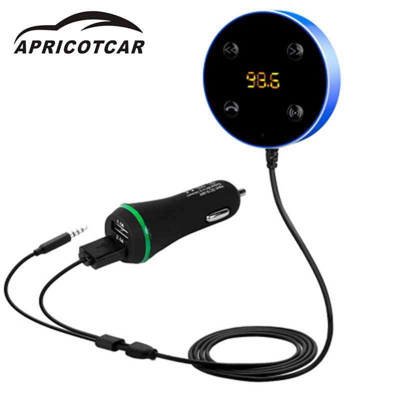 Car FM Bluetooth Auto Connect Handsfree Transmitter Audio Receiver Call Voice Number Digital Display Full Frequency Transmit Kit