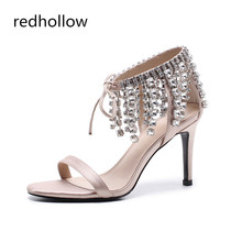 Summer 2019 High Heels Stilettos Crystal Rhinestone Fashion Sandals 9cm Fringe Woman Shoes For Ladies Wedding Party Cover