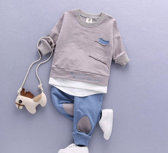 (4Pcs/lot) 2018 Newborn Baby Boys Clothes Set Long Sleeved Tops Shirts + Pants 2Pcs Outfits Kids Clothing Children Jogging Suits