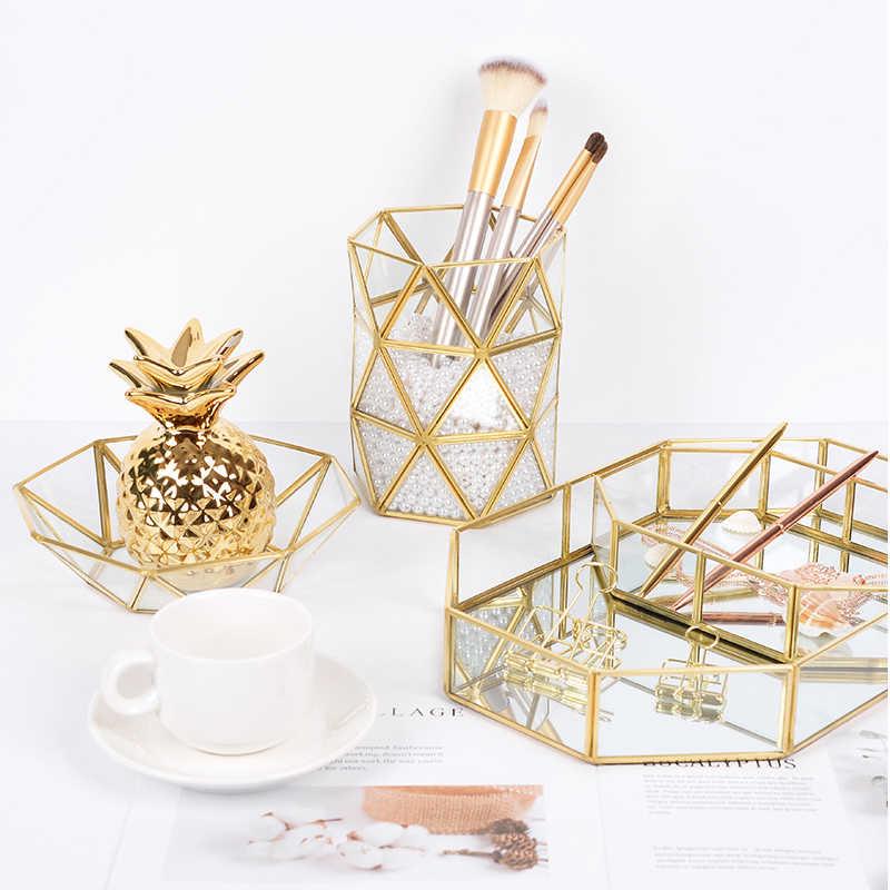 Estilo nórdico Cestas De Armazenamento Caixa De Armazenamento Make-up Escova Lápis de Metal Criativo Simple Gold Início Desk Organizer 15.8x12.5 cm
