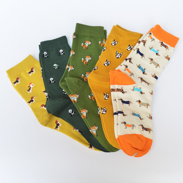 New caramella Banana Elk hit Color Socks for Couple happy socks Harajuku Street Tide Casual cotton compression mens socks 45w