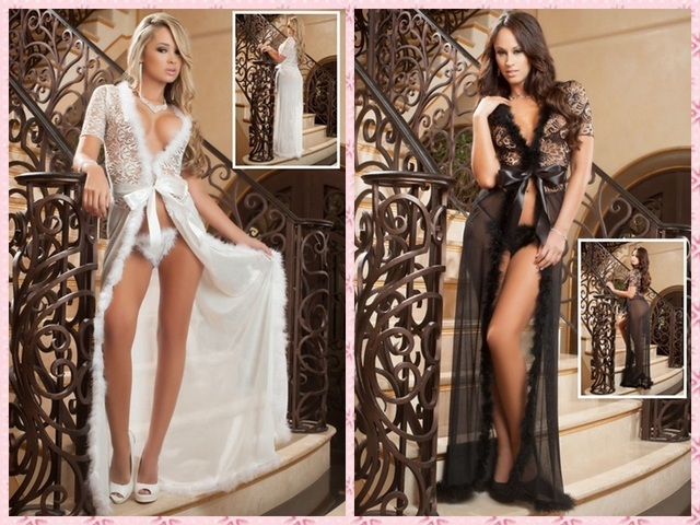Black Mesh Fur V Neck Lingerie Gown Glam Night Robe  Plus Size 4XL Babydoll +thong