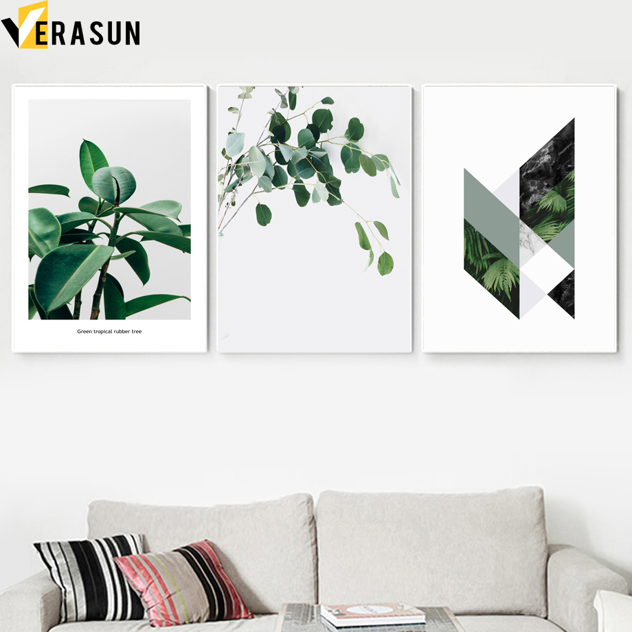 Image 2 - Green Plant Fern Leaves Geometry Quotes Wall Art Canvas Painting Nordic Posters And Prints Wall Pictures For Living Room Decor-in Painting & Calligraphy from Home & Garden