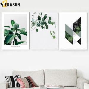 Image 2 - Pianta verde Felce Foglie Geometria Citazioni di Arte Della Parete della Tela di Canapa Pittura Nordic Poster E Stampe di Immagini A Parete Per Living Room Decor