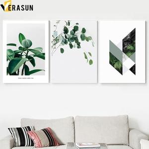 Image 2 - Zielony roślina paproć liści geometria cytaty obraz ścienny na płótnie Nordic plakaty i reprodukcje zdjęcia ścienny do salonu wystrój