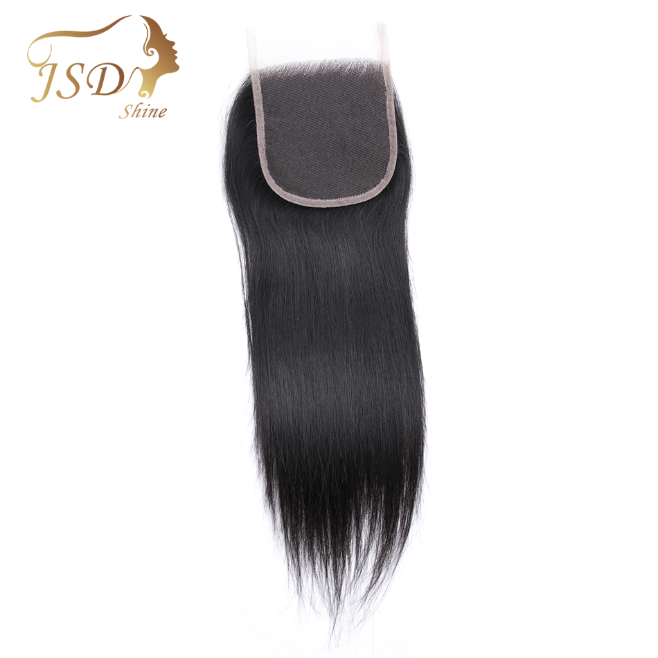 JSDshine Brazilian Straight 4x4 Swiss Lace Closure 100% Remy Human Hair Natural Color Free/Middle/Three Part