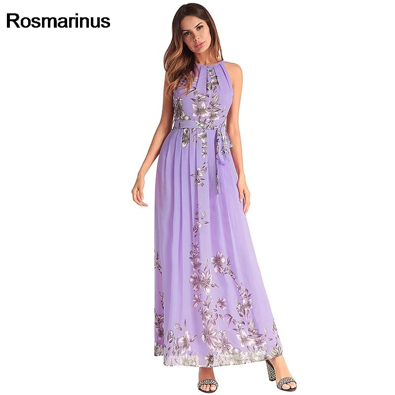 Rosmarinus Beach Dress Tunic Women Summer Halter Sleeveless Chiffon Long Sundress Belted Floral Print Pleated Boho Beach Dresses