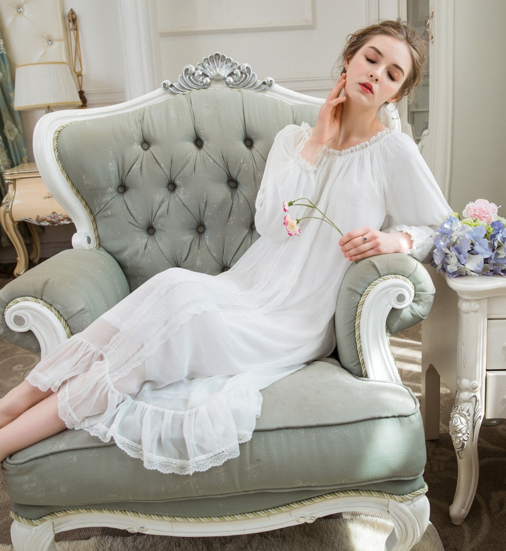 White   Nightgowns   Women Long Nightwear   Sleepshirts   Exquisite Lace Trimming Long-sleeved Nightdress Spring