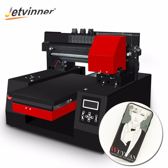 Jetvinner 2018 automático A3 impresora UV impresora de inyección de tinta comercial plana impresoras para botella de teléfono caso camiseta de cuero de madera