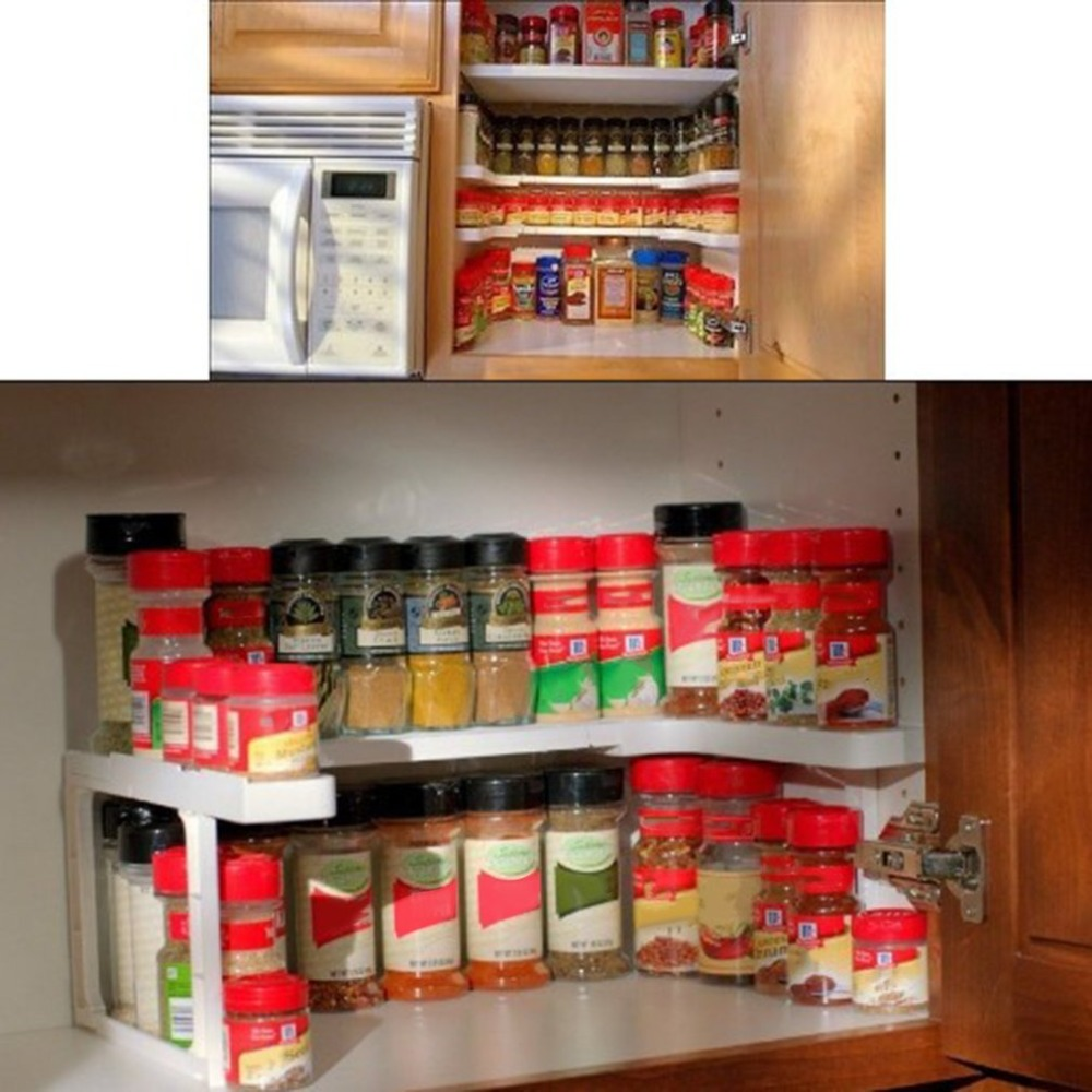 2 Layers Adjustable Spicy Shelf Kitchen Spice Organizer Storage Rack Shelf Rack Kitchen Spice Seasoning Carrier Drop Shipping