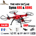 2016 mais novo drone syma x8g & x8hg 2.4g 4ch 6 eixos com 8MP Altitude Hold Grande Angular Hd Camera RC Quadcopter RTF RC Helicóptero