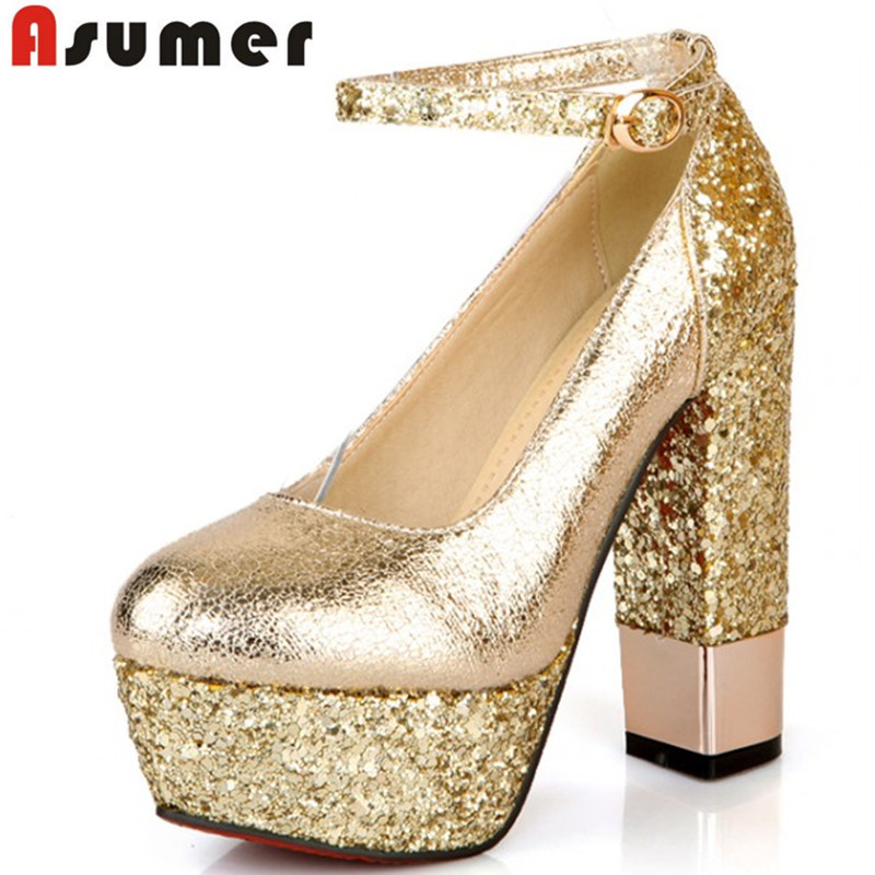 2016 New Spring summer women pumps shoes sexy 13cm ultra high Thick heels  gold silver white 50102d62334c
