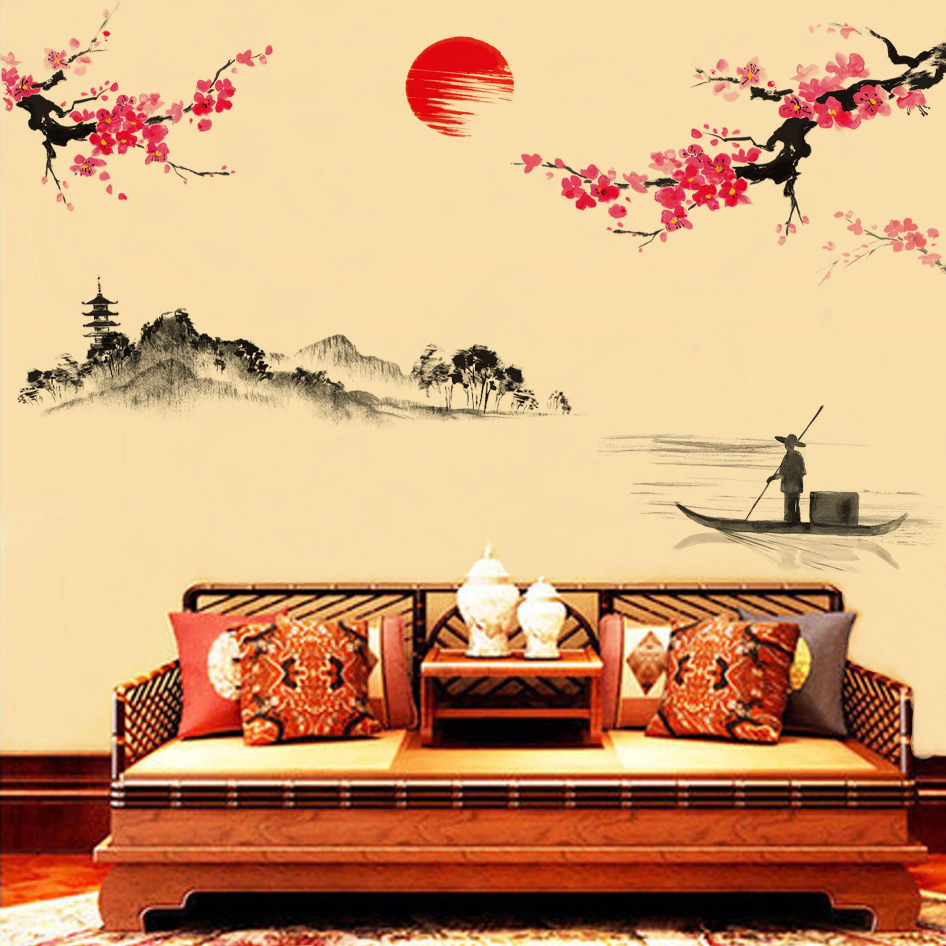 1pcs Creative Diy Chinese Wallpaper Decorative Vinyl Wall Sticker ...