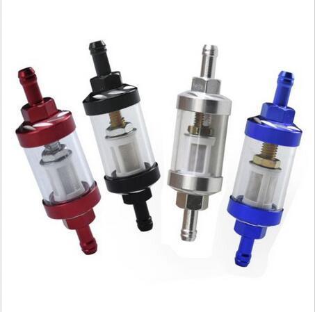 4 UNIDS Vidrio Limpiador De Aceite Filtro de Combustible En Línea DIRT PIT BIKE Moto 6mm 1/4 colores Cuatro colores: rojo, negro, plata, azul
