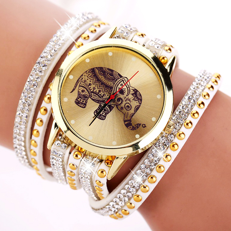 New Popular Fashion Elephant Pattern Bracelet Watches Watch
