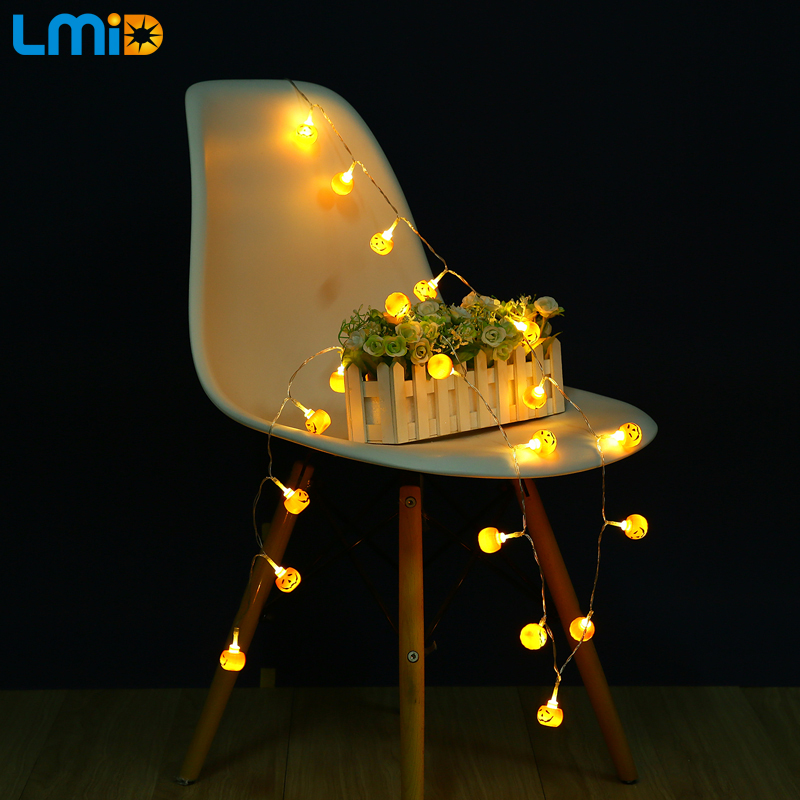 LMID Battery LED Light 3M 30led Halloween Pumpkin 3pcsAA Battery Operated String Lights Outdoor Decoration Light Home Decoration