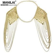 MANILAI Punky Bohemio Cuerpo Collares de Cadena Collar de Hombro de Cadena Larga Declaración de Collares y Colgantes Mujeres Sexy Body Jewelry