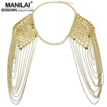 MANILAI Bohemian Punk Statement Necklaces Collar Shoulder Chain Long Necklaces & Pendants Women Sexy Statement Body Jewelry