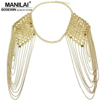 Bohemian Style Alloy Collar Shoulder Chains Pendants Bib Women Fashion Charm Jewelry Long Tassel Accessories Chain